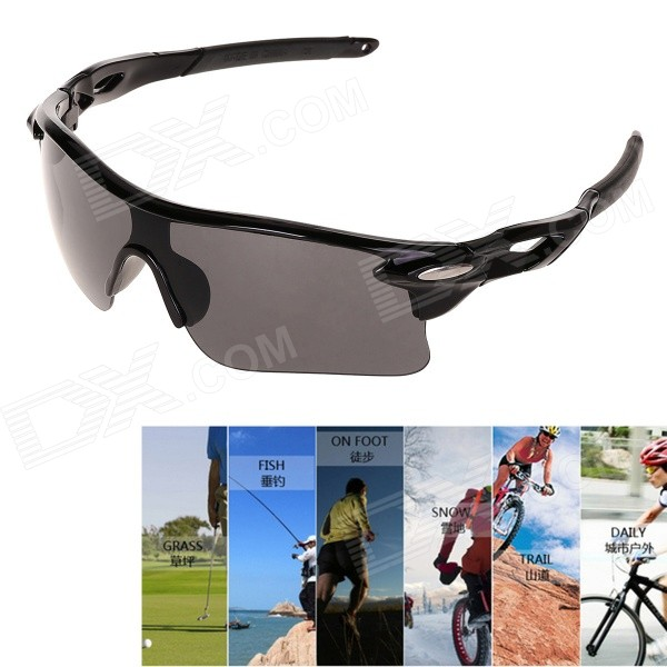 UV Protection Anti-Explosion PC Lenses Sunglasses for Cycling - Black
