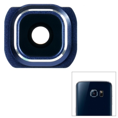 Camera Lens Frame Cover + Lens Ring Sticker for Samsung - Blue + Black