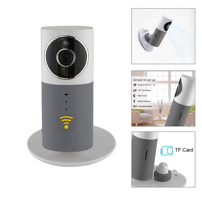 Clever Dog 720P Wireless Smart IP Camera - White + Grey