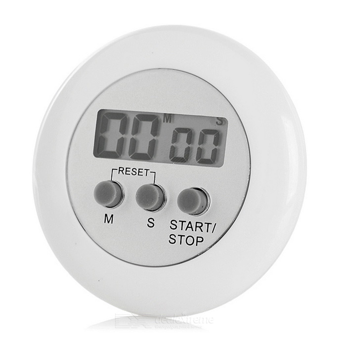 "Round Shape 1.3"" Screen Mini Digital Kitchen Timer - White"