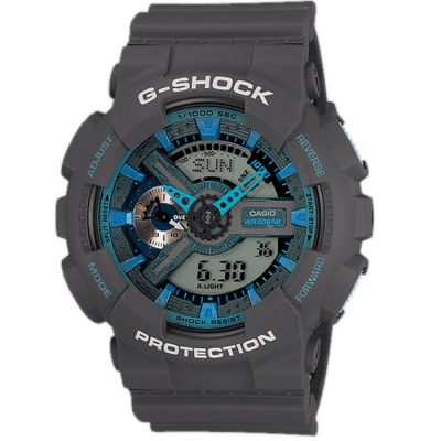 Casio G-Shock GA-110TS-8A2CR Neon Men's Watch-Grey + Blue