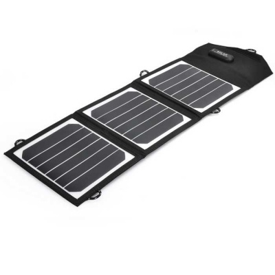 10.5W 23.5% Foldable Solar Powered Panel Charger - Black
