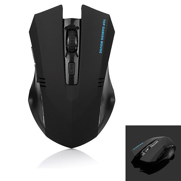 6-Key 2.4G Wireless Ergonomic Gaming Mouse w/ Frosted Texture - Black