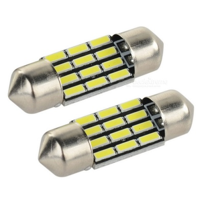 Festoon 31mm 2W LED Car Lamp White Light 38lm - Yellow + Silver (2PCS)