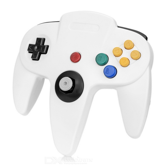 ABS Wired Game Console Controller for N64 - White + Multicolored