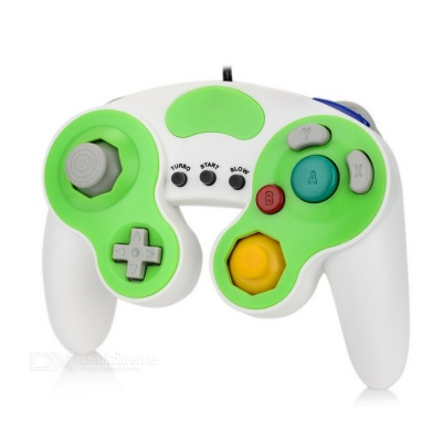 Wired Game Controller for Wii / Wii U / GameCube - White + Light Green