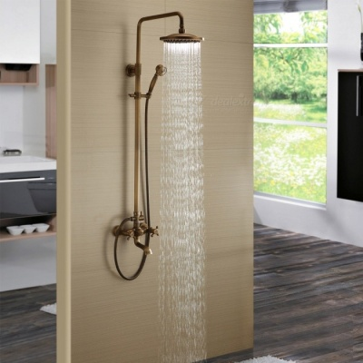 Luxury Antique Brass Bathroom Rainfall Shower Faucet Suit - Bronze