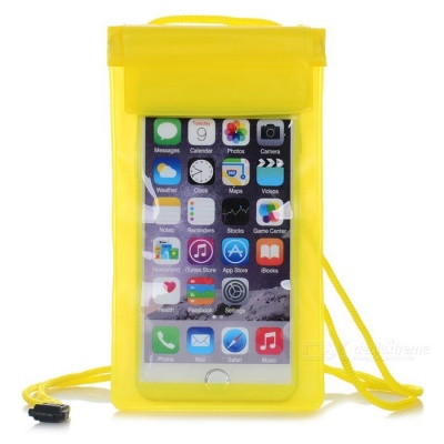 "Universal Outdoor Sports Case w/ Lanyard for 5.5"" Phones - Yellow"