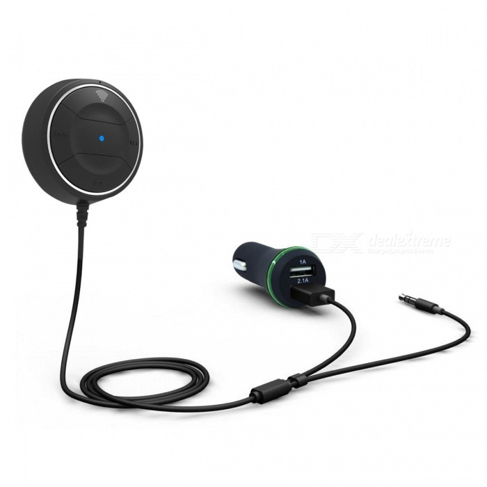 Bluetooth 4.0 Hands-Free Car Kit for 3.5 mm Aux Jack w/ Charger -Black