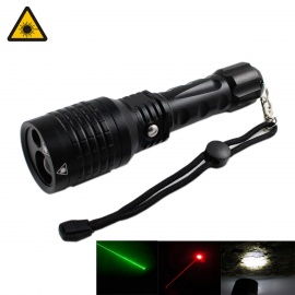 KINFIRE Green / Red Laser + White Light 4-Mode Dimmer Flashlight