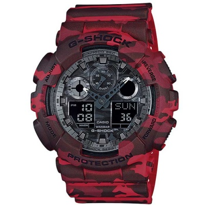 Casio G-Shock GA-100CM-4ACR Wrist Watch-Camouflage Red