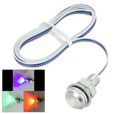 Wired 3W E-01 18mm COB LED Eagle Eyes Car RGB Light - Silver + Red