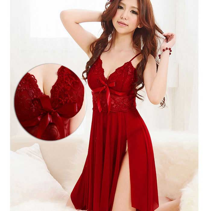 Women's Sexy Deep V-Neck Lace Nightgown Lingerie w/ Thong - Red