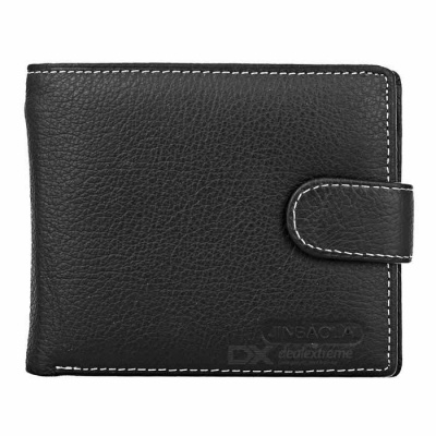 Stylish Head Layer Cowhide Leather Folded Wallet Purse for Men - Black