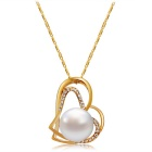 Women's Dual-Heart Style Alloy + Crystal Pendant Necklace - Golden