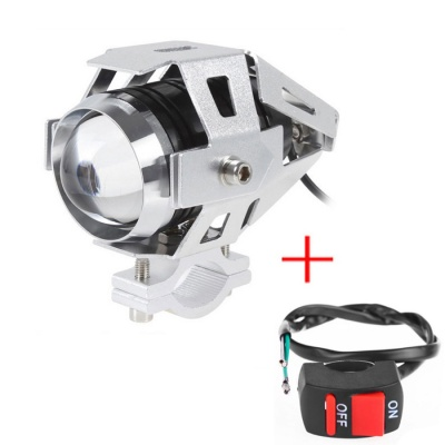 30W 2000lm Cold White LED Motorcycle Headlight Spotlight w/ Switch