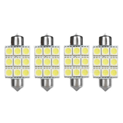 Festoon 39mm 1W Car LED Reading Lamps Cold White 45lm - Silver (4 PCS)