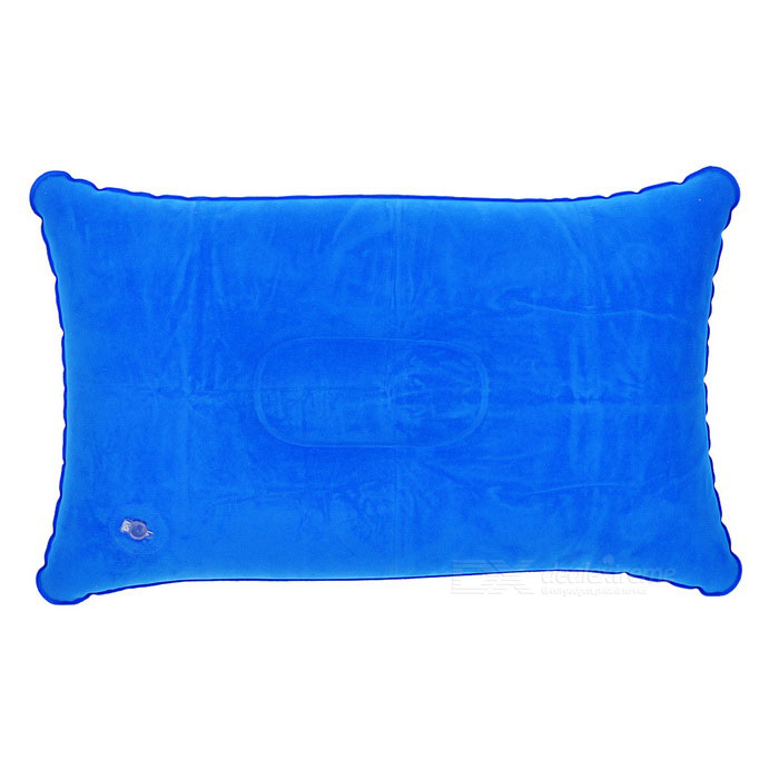 Travelling Flocked Cloth Air Inflatable Cushion Pillow - Sapphire