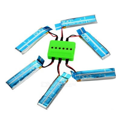X6A-A08 6-520mAh Batteries + 1-to-6 Charger + More Set - Multicolored