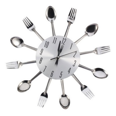 Kitchen Cutlery Creative Spoon Fork Wall Clock Home Decor - Silver