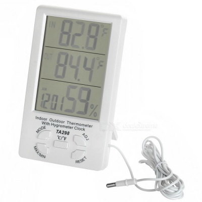 "TA298 4.4"" LCD Digital Indoor Outdoor Thermometer w/ Alarm - White"