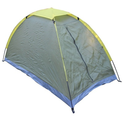 Single Layer Outdoor Camping Tent for One Persons - Green + Yellow