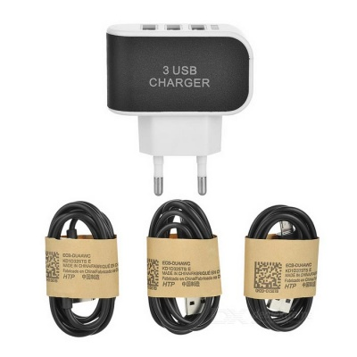 3-USB EU Plug Charger + Charging Cable for Samsung S6 - Black + White