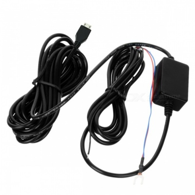 Cwxuan 12V to 5V Power Converter Cable for Car DVR / GPS - Black (4m)