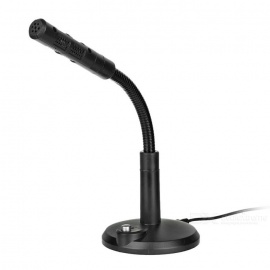 Flexible USB Wired Computer Free-Drive Microphone w/ Switch - Black
