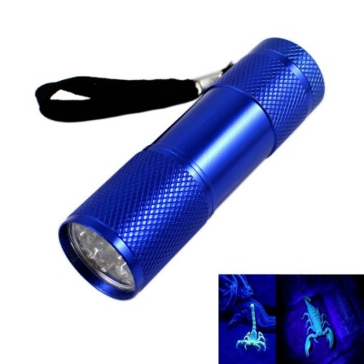 KINFIRE 9-LED Purple Light Flashlight Money Detector Light - Blue