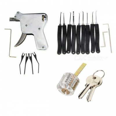 Manual Locksmith Gun Tool w/ Bull Head Lock + 9 Single Hook Tool Set