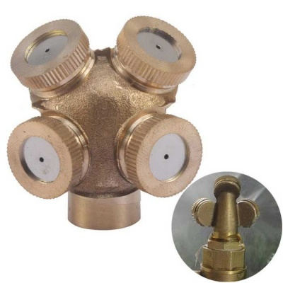 Garden Sprinklers Irrigation Fitting 4 Hole Brass Spray Nozzle - Brass