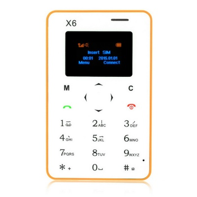 "AIEK X6 Quad Band 4.5mm Mini Card Phone w/ 1.4"" Screen / FM - Yellow"