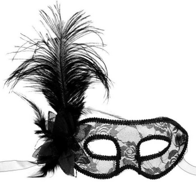Women's Handmade Feather Lace Half-Face Mask - Black