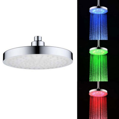 "8"" ABS Chrome Finish Round RGB LED Rain Shower Head - Silver"