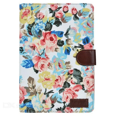 Flower Pattern Protective PU Case for IPAD MINI 4 - White + Multicolor