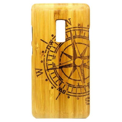 Compass Pattern Detachable Bamboo Back Case for Oneplus Two - Yellow