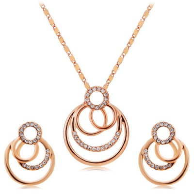 Xinguang Overlapping Circle Earrings + Necklace - Rose Golden