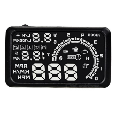 """Upgraded 5.5"""" HUD Head-Up Display w/ OBD Cable - Black + White"""