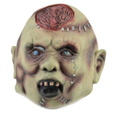 Brain Zombie Style Mask for Halloween Party - Beige + Red + Multicolor