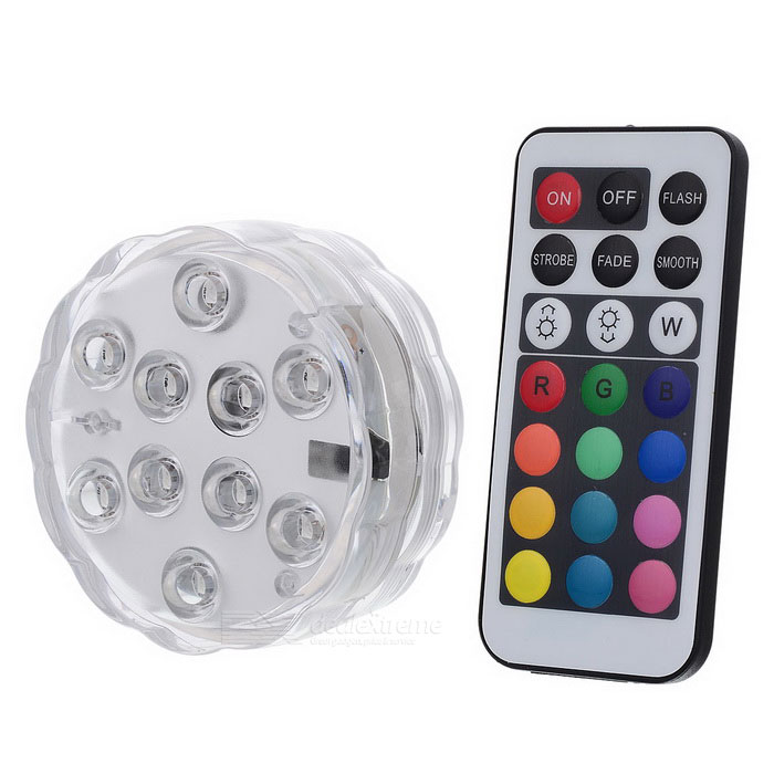 Waterproof Diving 10-LED Colorful Light Holiday Lamp w/ Remote - White