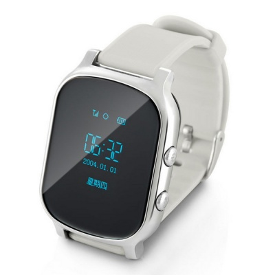 VESKYS Smart Watch w/ GPS Tracker, Remote Monitor,SOS - Silver + Black
