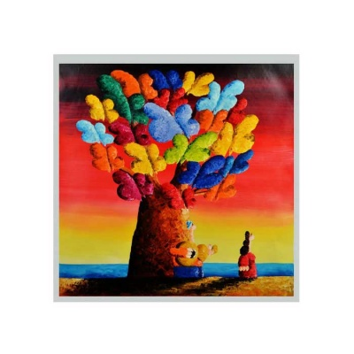 Canvas Art Lovers' Love World Oil Painting - Red + Multicolor