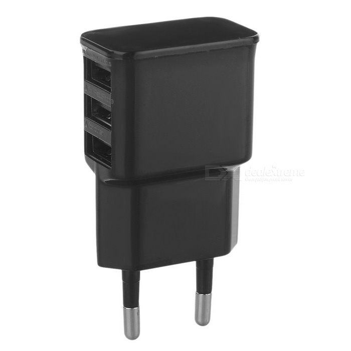 3-USB Charger for Samsung / Xiaomi / IPHONE + More - Black (EU Plug)