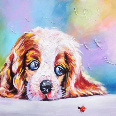 Canvas Art Cute Dog Oil Painting - Yellow + Purple + Multicolor