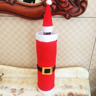 2 Sets Of Christmas Wine Bottle Bag Cover + Cap - Red + White