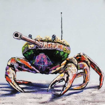 Canvas Art Super Cool Brave Tank-Crab Oil Painting - Multi-colored