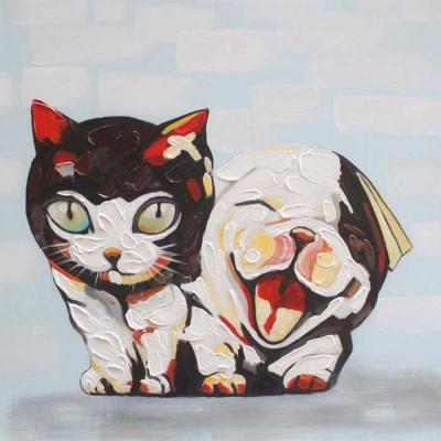Canvas Art Cute Cat & Dog Oil Painting - Black + Red + Multi-colored