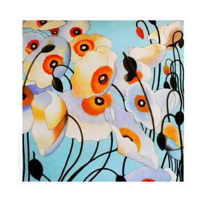 Canvas Art Modern Abstract Flowers Oil Painting - Blue + Multi-color