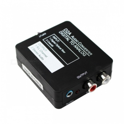 Coaxial or Toslink Digital to Analog Audio Converter w/ 3.5mm - Black